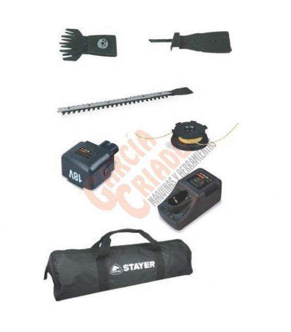 Set multigarden cortasetos y cortabordes a batería 18V Stayer 18