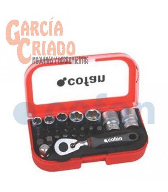 """Juego mini carraca vasos y puntas 1/4"""" 23 piezas Cofan 14009020"""