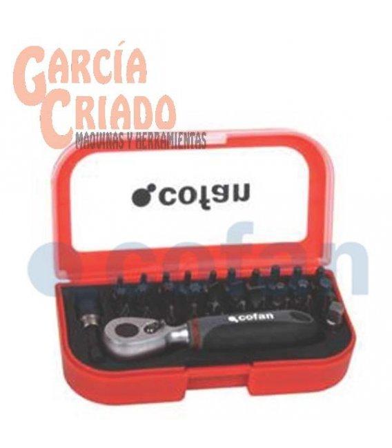 """Juego mini carraca 1/4"""" con puntas 33 piezas Cofan 14009021"""